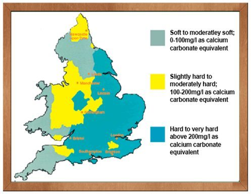 hospital hard water scale map